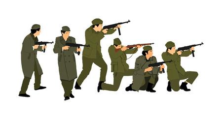 Soldado americano con vector de rifle. Partisano contra Alemania en la Segunda Guerra Mundial. Feroz lucha del ejército rojo en la Europa ocupada. Tropas soviéticas contra agresores en batalla. Luchador de la Segunda Guerra Mundial.