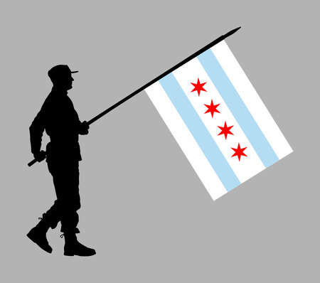 United States of America soldier with Chicago city flag vector silhouette. Ceremonial day of independence. Memorial army saluting, national veteran day. Battle for freedom ceremony. Military walk for USA liberty. Illusztráció
