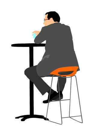 Lonely man sitting and waiting in public bar vector illustration. Night club guest urban life. Snack bar on street. Break relaxation after work. Blind date in restaurant, social connection. play boy. Ilustrace