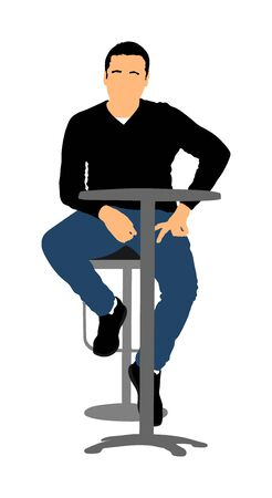 Lonely man sitting and waiting in public bar vector illustration. Night club guest urban life. Snack bar on street. Break relaxation after work. Blind date in restaurant, social connection. play boy. Stock Illustratie