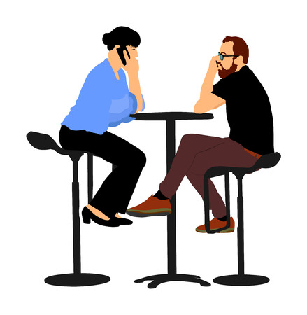 Couple sitting and talking on mobile phone vector illustration. Friends drinking in bar after work. Night club guests, urban life. Snack on the street. Break relaxation dating after work in restaurant.