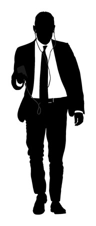 Businessman with mobile phone vector silhouette illustration. Handsome man in suite with smart phone gadget . Walking casual pose. Relaxed man listening to music.