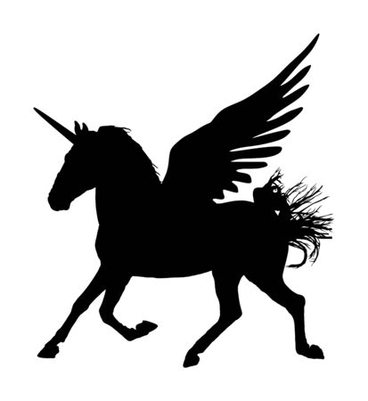 Ładny magiczny jednorożec Pegaz sylwetka wektor na białym tle. Sylwetka Pegaza, majestatyczny mityczny, skrzydlaty koń grecki. Mitologia latający koń ze snu. Symbol wolności.
