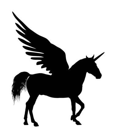 Siluetta di vettore di Pegasus unicorno magico carino isolato su sfondo bianco. Sagoma di Pegaso, maestoso cavallo alato greco mitico. Mitologia cavallo volante dal sogno. Simbolo di libertà. Vettoriali