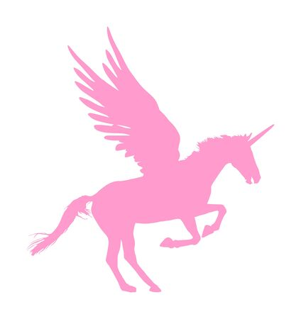 Cute magic pink Unicorn Pegasus vector silhouette isolated on white background. Pegasus silhouette, majestic mythical Greek winged horse.  Mythology flying Horse from dream. Symbol of freedom. Иллюстрация
