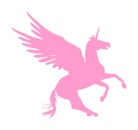 Cute magic pink Unicorn Pegasus vector silhouette isolated on white background. Pegasus silhouette, majestic mythical Greek winged horse.  Mythology flying Horse from dream. Symbol of freedom. 일러스트