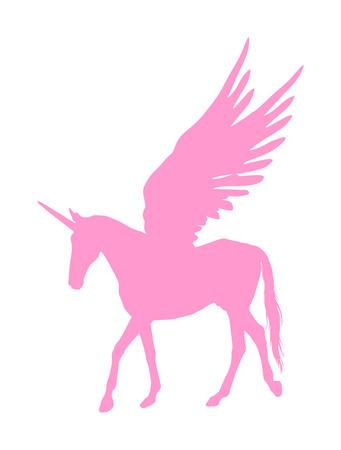 Cute magic pink Unicorn Pegasus vector silhouette isolated on white background. Pegasus silhouette, majestic mythical Greek winged horse.  Mythology flying Horse from dream. Symbol of freedom. Illustration