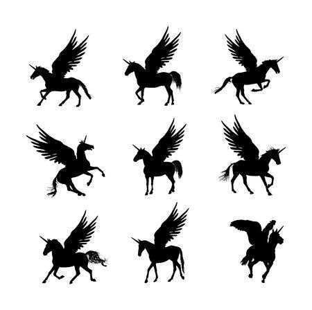Cute magic Unicorn Pegasus vector silhouette isolated on white background. Pegasus silhouette, majestic mythical Greek winged horse. Mythology flying Horse from dream. Symbol of freedom. Vettoriali