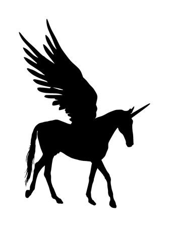 귀여운 마술 유니콘 페가수스 벡터 실루엣 흰색 배경에 고립. 페가수스 실루엣, 장엄한 신화 그리스 날개 말입니다. 신화 꿈에서 말을 날기. 자유의 상