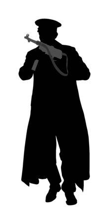 Soldat de l'Allemagne avec l'illustration de silhouette de vecteur de fusil. Officier occupant au combat. Guerrier de la Seconde Guerre mondiale en Europe occupée. Deuxième Guerre mondiale.