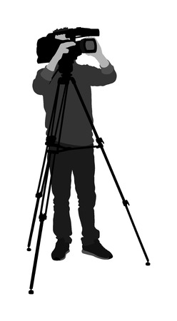 Cameraman silhouette with video camera on event, concert, sport event,  isolated on background. Vector illustration.  Breaking news in studio. Broadcast in live.