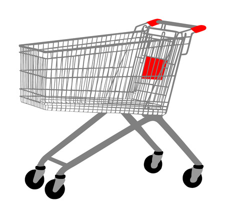 Empty shopping cart vector isolated on white background metal market trolley.