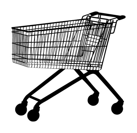 Empty shopping cart vector silhouette isolated on white background metal market trolley.