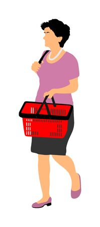 Woman doing everyday grocery shopping with shopping basket at supermarket, vector isolated on white background. Lady usual walk after work with consumer bag buy food and another goods in market.