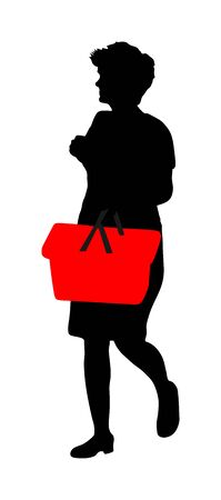 Woman doing everyday grocery shopping with shopping basket at supermarket, vector silhouette isolated on white background. Lady usual walk after work with consumer bag buy food and goods in market. Stock Illustratie