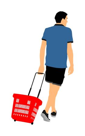 Man doing everyday grocery shopping with shopping basket at supermarket vector isolated on white. Male usual walk after work with consumer bag buy food and another goods in market. Boy purchase buying