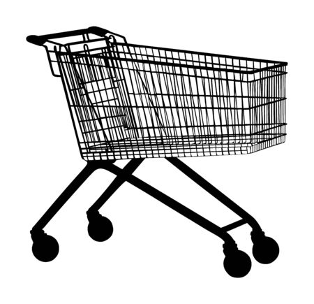 Empty shopping cart vector silhouette isolated on white background. Metal market trolley. Stock Illustratie