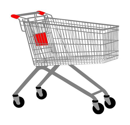 Empty shopping cart vector isolated on white background. Metal market trolley. Stock Illustratie