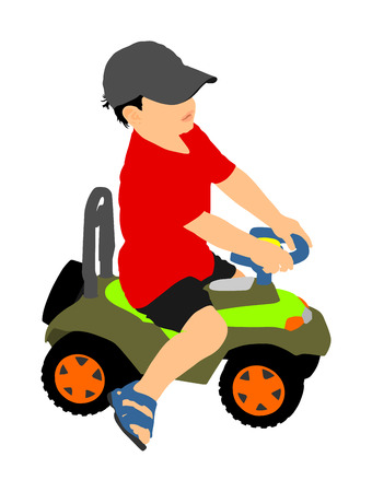 Little boy driving mini car vector illustration. Child with toy automobile. Kid driving pedal car . Illustration