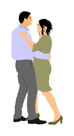 Dancer couple in love vector illustration isolated. Sensual tango dance on wedding party. Woman and man closeness. Boy hugs girl and dancing salsa.