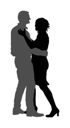 Dancer couple in love vector silhouette isolated. Sensual tango dance on wedding party. Woman and man closeness. Boy hugs girl and dancing salsa.
