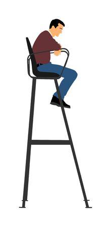 Árbitro de tenis en silla vector aislado sobre fondo blanco. Juez de voleibol de playa en vector de silla de líder. Actividad deportiva al aire libre. Hombre de rescate. Hombre salvavidas en la estación de la torre ver junto a la piscina, playa