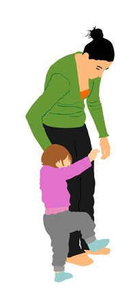 Mother teaching baby to walk, vector. Kindergarten teacher nanny working with kid. First steps in life. Parent support child. Mom love little boy. Babysitter care about cute baby. Young woman and son.
