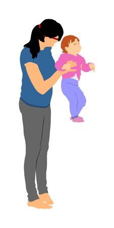 Mother teaching baby to talk vector. Kindergarten teacher nanny working with kid. First steps in life. Parent support child. Mom love little boy. Babysitter care about cute baby. Young woman and son. Ilustração