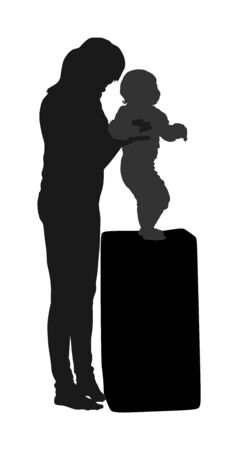 Mother teaching baby to talk vector silhouette. Kindergarten teacher nanny working with kid. First steps in life. Parent support child. Mom love little boy. Babysitter care about cute baby. Young woman and son. Ilustração