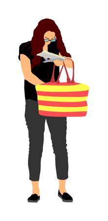 Donna che cerca un portafoglio, chiavi sulla borsa, illustrazione vettoriale. Situazione stressante per strada, perdita di denaro. La signora turistica ha perso il passaporto. Problemi al confine. Nessuna carta di pagamento che cerca nella borsa.