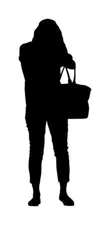 Woman looking for a wallet, keys on the bag, vector silhouette. Stressful situation on street, loss of money. Tourist lady lost passport. Problems at the border. No payment card searching in bag.