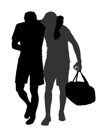 Doctor support in the match, first aid for injured sportsman vector silhouette illustration. Patients help. Drunk person overdose after party.  Sneak attack rescue team. Injured victim of earthquake hurt.