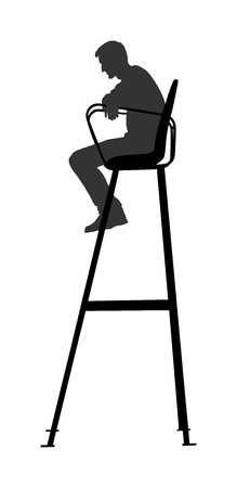 Tennis referee in chair vector silhouette isolated on white background. Beach volleyball judge in leader chair vector.