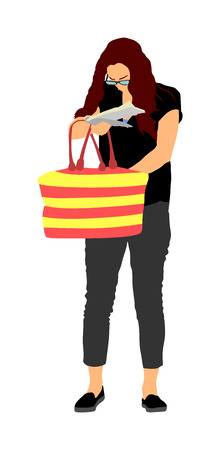 Woman looking for a wallet, keys on the bag, vector illustration. Stressful situation on street, loss of money. Tourist lady lost passport. Problems at the border. No payment card searching in bag.