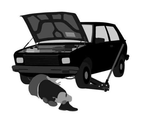 Car repair services mechanic on the road vector illustration. Problem with car with open hood. Mechanic lying and working under car at the repair garage. Broken car on the road. Man fixed problem.