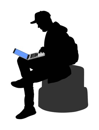 Boy work mining on laptop outdoor vector silhouette illustration isolated on white background. Man online hacking social network or private banking account. Teenager with computer in public.