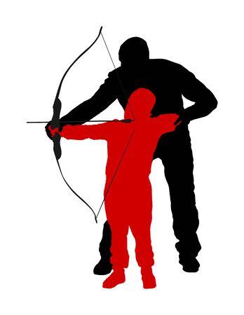 Ilustración de silueta de vector de arquero aislado sobre fondo blanco. Cazador en la caza. Papá le enseña a su hijo a sostener el arco y la flecha. El día del padre, pasar tiempo con el chico, despierta el instinto de caza. Crianza