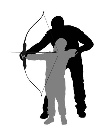 Archer vector silhouette illustration isolated on white background. Hunter in hunting. Dad teaches his son to hold bow and arrow. Fathers day, spending time with boy, wakes hunting instinct. Parenting