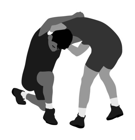Wrestlers boys wrestling vector illustration isolated on white. Gymnastic martial art. Sport fighter school. Self defense skills.  Bully abused neighbor kid. Brothers hitting and punching. Standard-Bild - 129269098