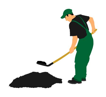 Gardener digging the earth vector illustration. Dirty spade with ground. Man working in garden. Construction worker with spade. Farmer with shovel. Digger worker mining. Иллюстрация