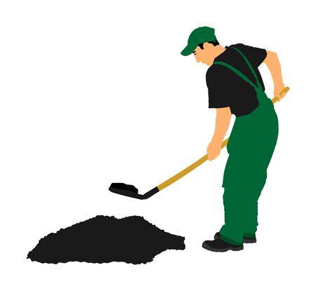 Jardinier creusant l'illustration vectorielle de la terre. Pelle sale avec terre. Homme travaillant dans le jardin. Travailleur de la construction avec pelle. Fermier avec pelle. Exploitation minière de travailleur de creuseur. Vecteurs