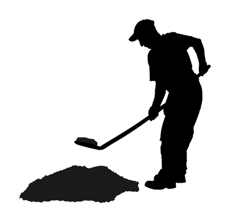 Man with shovel digging garden vector silhouette isolated on white background. Illustration