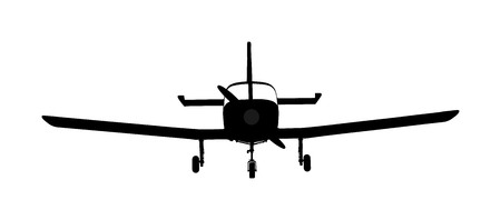 Airplane silhouette vector. Mini plane in air symbol. school of flying. Commercial flight. Jetplane. Illustration