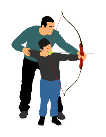 Archer vector illustration isolated on white background. Hunter in hunting. Dad teaches his son to hold bow and arrow. Fathers day, spending time with boy, wakes hunting instinct. Parenting