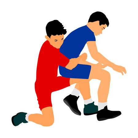 Wrestlers boys wrestling vector illustration isolated on white. Gymnastic martial art. Sport fighter school. Self defense skills.  Bully abused neighbor kid. Brothers hitting and punching.
