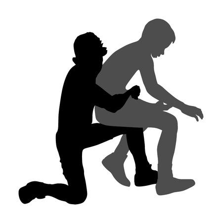 Wrestlers boys wrestling vector silhouette illustration isolated on white background.