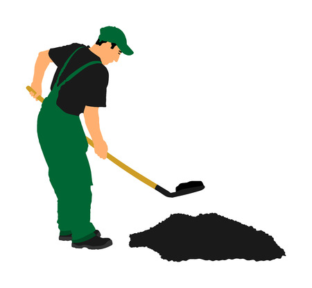 Gardener digging the earth vector illustration. Dirty spade with ground. Man working in garden. Construction worker with spade. Farmer with shovel. Digger worker mining. Illustration
