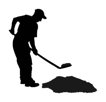 Jardinier creusant l'illustration de silhouette de vecteur de terre. Pelle sale avec terre. Homme travaillant dans le jardin. Travailleur de la construction avec pelle. Fermier avec pelle. Digger travailleur minier.