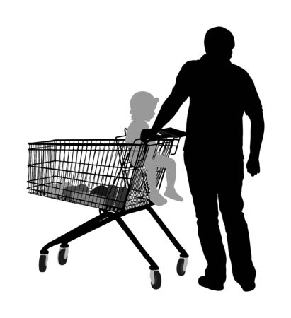 Father wit little daughter in shopping cart silhouette. Man doing everyday grocery buying at supermarket after work, vector silhouette isolated.  Fathers day, family buy food and another goods. Metal market trolley.
