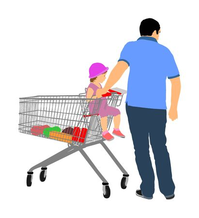 Father wit little daughter in shopping cart. Man doing everyday grocery buying at supermarket after work, vector isolated.  Fathers day, family buy food and another goods. Metal market trolley.